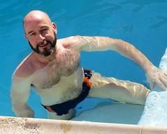 IMG_4648 (danimaniacs) Tags: shirtless man hot sexy guy water smile beard palmsprings bald hunk swimmingpool scruff mansolo