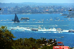 """Sydney to Hobart yacht race"" 2016 ""Perpetual Loyal"" nearing ""The Head(land)s"" (Watsons bay - East Manly) at the mouth of Sydney Harbour to open sea with a flotilla of spectator craft. (nicephotog) Tags: hobart yacht race 2016 perpetual loyal heads sydney harbour flotilla spectator crowd lookout city view boxing day start"