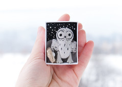gray owl (free_dragonfly) Tags: owl toys cute miniature sewing matchbox art gray handmade
