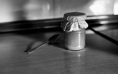 Yin & Jam (hector_cbs) Tags: morning breakfast jam monochrome food blackandwhite desayuno table