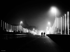 on misty days - better walk together! (René Mollet) Tags: mist street streetphotography shadow silhouette misty fog foggy blackandwhite basel bw monchrom monochromphotographie renémollet bridge xmaslights night nightshot nacht nebel