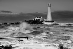 Spring Tide At St.Mary's (Michael Halliday) Tags: coast hitech landscape nikkor2470f28ged nikon nikond600 sea seascape stmarysisland stmaryslighthouse sunser water waves weather whitleybay