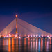 At twilight. Rama 8 Bridge, A bridge over the river is beautiful in Bangkok, Thailand. (Touch of eyes) Tags: bridgenighttwilightcitybluebrooklynarchitecturereflectionlandmarkhooghlyskydesignsunsetriverhowrahmodernwhitelightwatertravelviewsteelbeautifulsunrisethailandbangkokasiaasian