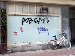 Near Nieuwmarkt (Quetzalcoatl002) Tags: nieuwmarkt amsterdam towncenter graffitti bicycle urban graffity white facade bike window street