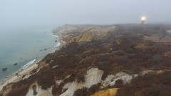 Gay Head Lighthouse in Fog (Chris Seufert) Tags: marthasvineyard gayhead light lighthouse fog cliffs ac aqquinah drone aerial
