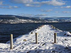 Bollards in  the Snow (Drew Makepeace) Tags: pier groyne bollard lake okanagan snow