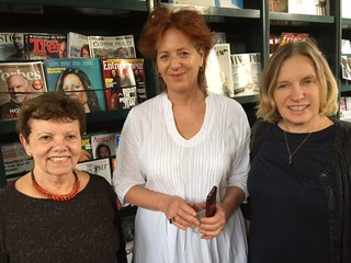 Moderator Carol Damian with artist Anita Giesta and dart conservator Rosa Lowinger at Books and Books fro ARTtuesdays panel about Artists responding to sea level rise crisis.