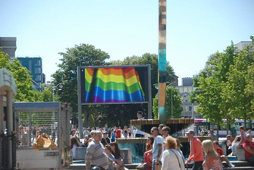 "Rainbow flag on the Big Screen for Plymouth Pride • <a style=""font-size:0.8em;"" href=""http://www.flickr.com/photos/66700933@N06/20442450058/"" target=""_blank"">View on Flickr</a>"