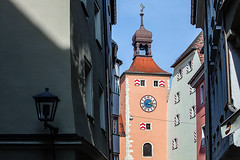 Germany: Regensburg / Bavaria (tisha_razumovsky) Tags: world street old autumn roof urban house tower heritage history classic clock architecture germany tile outdoors bavaria town site colorful warm europe walk sunny medieval september unesco journey shutters historical typical regensburg multicolor exciting