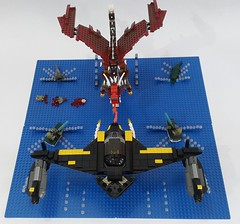 Battle Of The Blue Delta (Bloody version) (Hendri Kamaluddin) Tags: monster dragon lego fantasy bloody squadron moc fighterplane skyfi fantasycreature foitsop fantasyplane fantasybattle victorysquadron