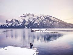 Someday (波希米亚) Tags: winter sunset house mountain lake snow canada reflection landscape couple alberta banff minnewanka 500px ifttt