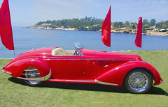 Alfa Romeo 8C 2900B Lungo Touring Spider (Steve Corey) Tags: lines classiccar curves bestcars autodesign redsportscar alfaromeo8c2900blungotouringspider highestfashionsportcar pebblebeachconcoursdelegance2015