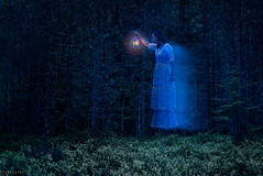 Huldra (Ron Jansen - EyeSeeLight Photography) Tags: light woman lamp norway night forest looking levitation folklore fair norwegian transparent seduction creature seductive seeking deceptive scandinavian hovering kongsberg huldra vengeful buskerud hulder underjordiske