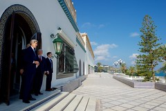 Secretary Kerry Looks Out at the Mediterranean Sea With Tunisian Foreign Minister Baccouche (U.S. Department of State) Tags: tunisia tunis johnkerry taiebbaccouche