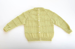 Green Raglan Openwork Baby Cardigan (imaginary animal) Tags: sweater knitting cardigan babysweater vintageknits babyknits vintagepattern