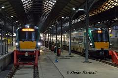22029 and 22027 at Heuston, 31/10/15 (hurricanemk1c) Tags: dublin irish train rail railway trains railways irishrail rok rotem heuston 2015 icr iarnród 22000 22029 éireann iarnródéireann 4pce 1330galwayheuston