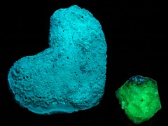 "Synthetic Fluorescent Mineral Experiment:  ""Hydro-glauberite""? - UVc (someHerrings) Tags: experiment calcium sodium carbonate sulfate uranyl hydroglauberite"