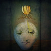 Portrait of Tulip in Winter (jimlaskowicz) Tags: dark unusual unique stilllife flora peculiar fanciful curious aged tonal yellow blossom dreamstate dream moody face impressionistic portrait surreal fantasy winter tulip flower vase artistic textures art vintage whimsical netartii