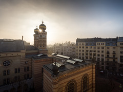 Great Synagogue (JoshyWindsor) Tags: hungary atmospheric sunrise budapest dawn highangle cityscape canoneos6d holiday morning travel erzsébetváros dohánystreetsynagogue greatsynagogue sunstar canonef1740mmf4l eurban europe buildings city