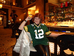 Joy In Packerland! (Laurette Victoria) Tags: woman auburn jersey packers milwaukee leggings laurette pfisterhotel