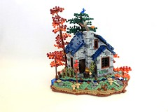 Forest Cottage (jsnyder002) Tags: lego moc medieval creation scene cottage forest woods landscape stone walls roof design technique irregularbase light animals trees window