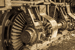 "Wheel on ""Peggy,"" a Lima Shay Geared Steam Locomotive (SN 2172) (scattered1) Tags: 1909 2015 2172 center classb ehraim ephraimshay limalocomotiveworks limashay or oregon portland shay shopnumber2172 truck washington washingtonpark world worldforestrycenter antique balloon bevel bevelgear classic cover engine forestry gear gearcover geared gearedsteamlocomotive historic history locomotive oil old park powerful rail rugged shaft steam timber train trees wheel wood"