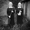 The Weevilthorpe twins with a garden fork and a nice Chianti (Apionid) Tags: twins dianearbus homage selfportrait werehere hereios nikond7000 gimp clones january 2017 flickrfriday doubleornothing sinister