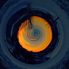 Winter Sunset                 Tiny Planets app (Scorpiol13) Tags: sunset landscape skyscape tinyplanet spiral winter snow skyline horizon