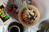 Healthy breakfast with coffee and granola and pears (lenavolkova86) Tags: sweet cereal fresh wheat dish health white banner oat crunchy natural muesli full food dessert meal granola fruit breakfast dried nutrition assorted gourmet closeup snack diet horizontal flake freshness menu coffee spoon milk bowl grain wholefood pears flowers
