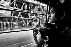 Tram, Kolkata (paola ambrosecchia) Tags: portrait india kolkata street blackandwhite bnw amazing beautiful retrato light travel woman monochrome biancoenero