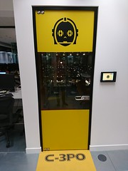 6 C3PO Door (christianodendaal) Tags: office hipster geeky tech trendy fun london whitechapel unruly smalls start up startup media company agency funny themed starwars star wars meeting room c3po yellow gold