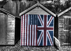 Special relationship (Avian Sky) Tags: uk england usa beach beer canon beachlife pebbles hut devon 7d unionjack 1740mm hdr starsandstripes aviansky
