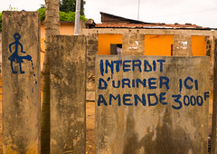 Benin, West Africa, Porto-Novo, no urinating sign in french on a wall (Eric Lafforgue) Tags: africa color sign horizontal illustration warning french outdoors fine nobody nopeople forbidden westafrica benin piss pissing urinate urinating interdit portonovo colourimage publicnuisance nourinating بنين ベナン бенин 贝宁 adjacé hogbonou benin09881