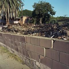 Bulging wall teardown (ADMurr) Tags: street 6x6 film wall rollei la kodak miracle debris mf mile 6th bulging teardown ektar