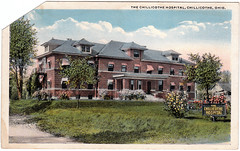 The Chillicothe Hospital, Chillicothe, Ohio (Date Unknown) (Sent from the Past) Tags: postcard postcards whiteborder hospitals irobbinsson ohio chillicothe chillicotheohio randson unknowndate dateunknown madeintheusa chillicothehospital damaged flagawnings signs