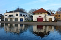 Cambridge Boathouses - Explored (R.K.C. Photography) Tags: cambridge cambridgeshire england unitedkingdom uk canoneos100d boathouses rivercam reflections water buildings