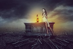 Be the light in the darkness (RoCafe on/off) Tags: manipulation ps photoshop fantasy art coneptual girl tomb lantern sparrow surrealism