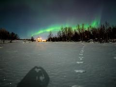 From Kiruna with love (AngryTheInch42) Tags: aurora auroraborealis northernlights kiruna sweden space astrophotography stars shadow snow moonlight