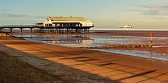 Cleethorpes Pier (Dieseldog05) Tags: north east lincolnshire cleethorpes panasonic lumix fz200 pier beach sand sea river humber groyne boat buoy water reflection ferry long shadows