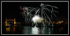 Fireworks_9158 (bjarne.winkler) Tags: 2016 new year evening pre fireworks 9pm backdrop tower bridge ziggurat calstrs building sacramento river ca