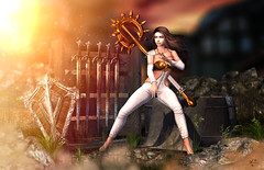 Focused (meriluu17) Tags: aisha poseidon ppk warrior guardian focus fight weapon sword swords battle village rock light lights gold staff shield fantasy magical fgc tfgc thefantasygachacarnival people portrait outdoor