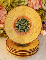 Vintage Zell German Majolica Pottery Plates Scrolls Grapes Germany (Donna's Collectables) Tags: vintage zell german majolica pottery plates scrolls grapes germany