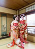 Two Maiko girls standing in Japanese tatami room (Apricot Cafe) Tags: img637966 20s asian asianethnicity canonef2470mmf28liiusm japan japaneseethnicity kimono kyoto lypsekyo16 maiko beautiful brilliant femininity gion girls happiness hospitality indoors lifestyle oneperson people portrait serenity smile traditional traveldestinations walking women youngadult