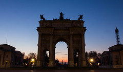 Morning between the Arch. (thetomgrey) Tags: milan italy canon 60d sigma 1835mm travelling milano arco della pace sunrise long exposure morning sun sky arch neoclassical sforzesco castle castello