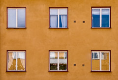 'Chapters 1 to 6' (Canadapt) Tags: building wall windows curtains blinds reflection six yellow uppsala sweden canadapt flowers