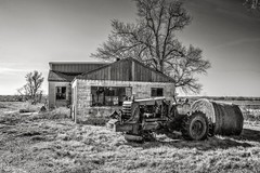 Sun's Going Down (A Anderson Photography, over 1.6 million views) Tags: farm tractor canon mono bw hay