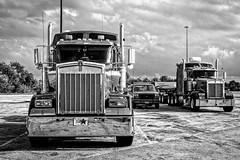 American trucks (2) (Lucille-bs) Tags: amérique etatsunis usa ohio truck nb bw parking camion route90 airedautoroute