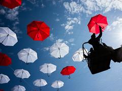 Red, White & Blue (Meljoe San Diego) Tags: meljoesandiego ricoh ricohgr streetphotography colors umbrella sky street silhouettes