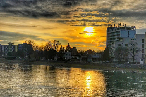 sunset on the river Vah in Piestany (SK)