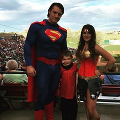 #Malikai met Superman and Wonder Woman at the Sky Sox game tonight. / on Instagram https://instagram.com/p/7RQR4JsmnQ/